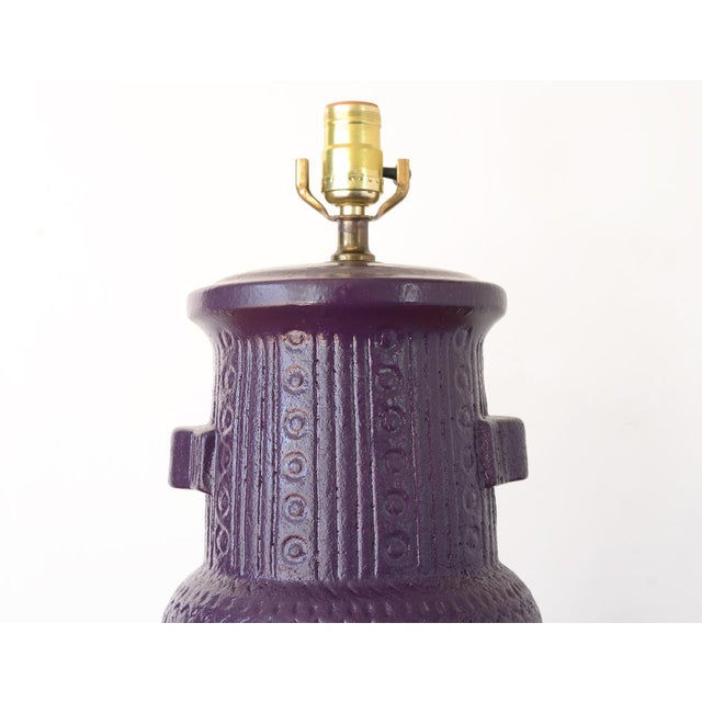 Mid 20th Century Mid Century Modern Purple Pottery Table Lamp For Sale - Image 5 of 13