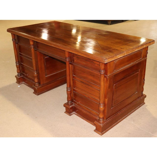 Italian Italian Inlaid Walnut Executive Desk For Sale - Image 3 of 10