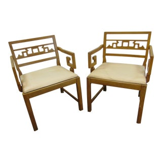 Mid Century Chinese Chippendale Style Walnut Arm Chairs - a Pair For Sale