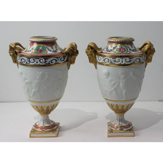 French Antique 19th Century Sevres Style Urns - a Pair For Sale - Image 3 of 13