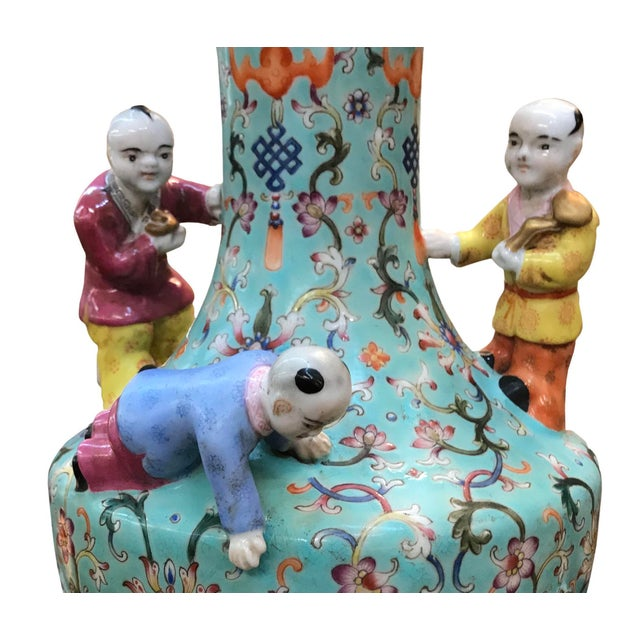 Chinese 19th Century Chinese Five Boys Vase For Sale - Image 3 of 5
