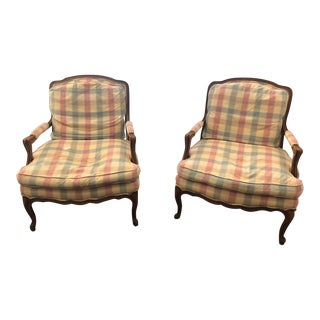 Baker Furniture French Provincial Louis XV Fauteuil Chairs - a Pair For Sale