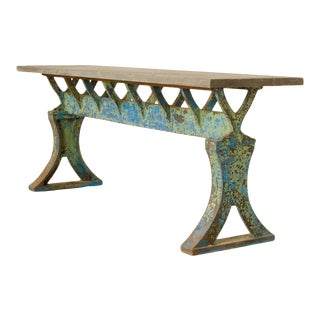 19th Century French Iron Industrial Console Table With Slate Top, Circa 1880 For Sale