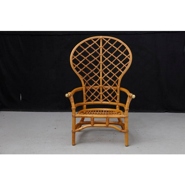 Hollywood Regency High Back Fan Style Rattan Armchair For Sale - Image 12 of 12
