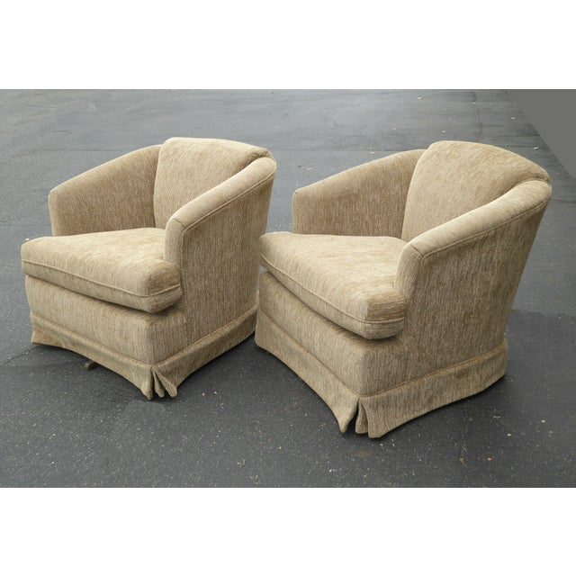 Vintage Dunlap Mid-Century Style Tan Swivel Chairs - A Pair - Image 3 of 9