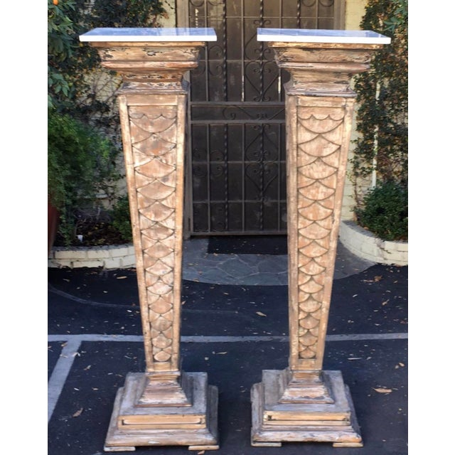 """66"""" Antique Monumental Marble Top Pedestals - a Pair For Sale - Image 4 of 4"""
