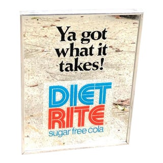 1980s Vintage Diet Rite Framed Mirror Sign For Sale