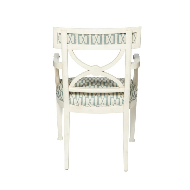 Contemporary Schumacher Westminster Belvedere Peacock Blue Hand-Carved Beechwood Armchair For Sale - Image 3 of 9