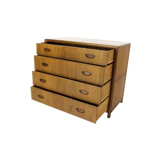 Baker Mid Century Modern Light Walnut Finish Bachelor Chest or Dresser For Sale
