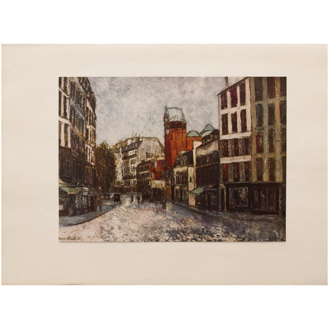 """Lithograph 1950s Maurice Utrillo, First Edition Period Lithograph """"Rue Des Abbesses"""" For Sale - Image 7 of 8"""