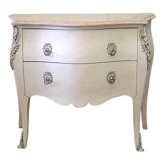 20th Century Rococo 2 Drawer Commode With Marble Top For Sale