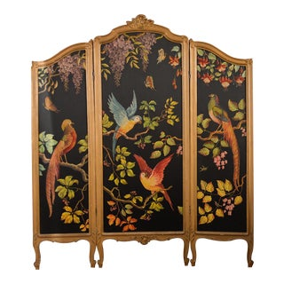 French Three-Panel Parrot Motif Screen