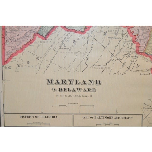 Traditional Vintage Maryland & Delaware Map C.1950 For Sale - Image 3 of 4