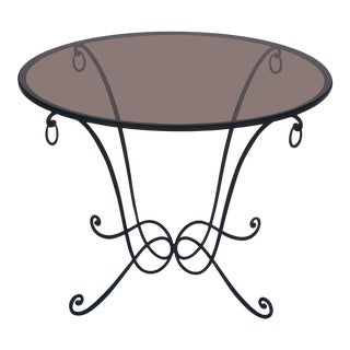 French Round Table of Wrought Iron and Smoked Glass For Sale