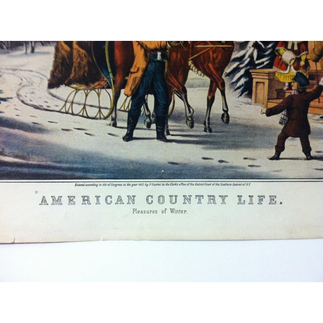 """American Currier & Ives Color Print, """"American Country Life - Pleasures of Winter"""", 1947 For Sale - Image 3 of 4"""