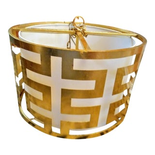 Large Gold Leaf Greek Key Drum 3 Light Chandelier For Sale