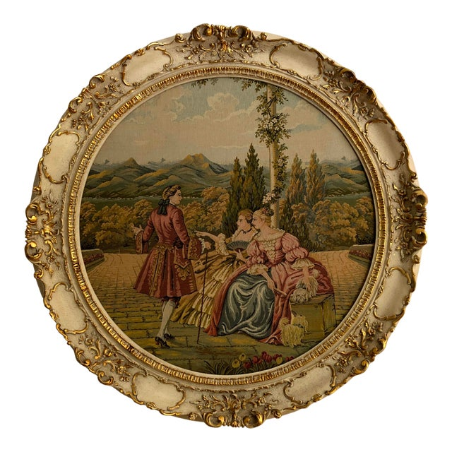 """20th Century Italian Capodimonte Style Large 35"""" Framed Wall Mount Tapestry For Sale"""
