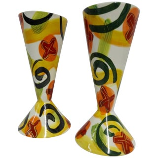 Marilee Hall Pair of Colorful Glazed Pottery Goblets For Sale