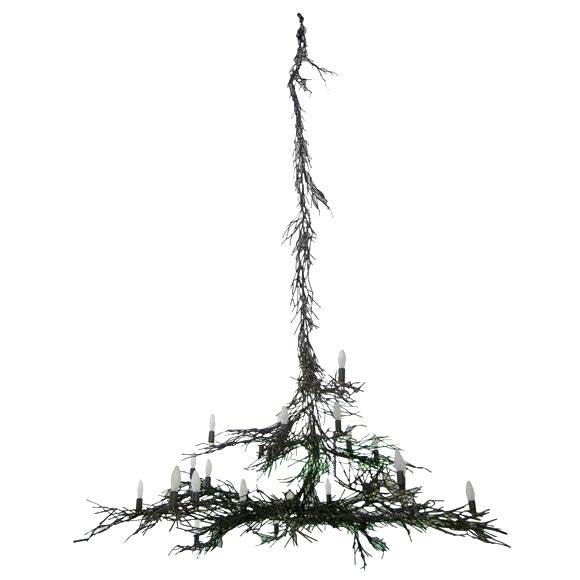 Monumental Twig Plaster Chandelier For Sale