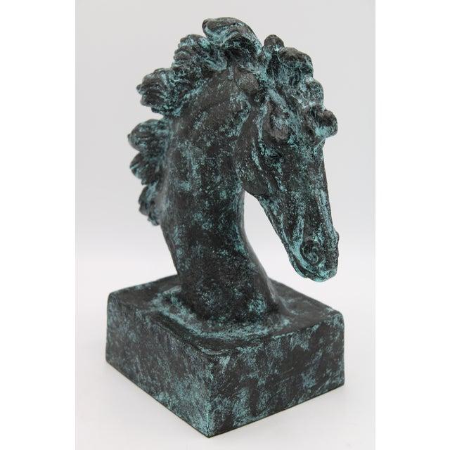 Verdigris Wild Mustang Horse Head Statue For Sale - Image 4 of 13