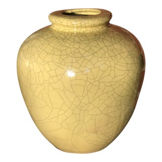 Late 20th Century Vintage Yellow Crackle Ceramic Pot For Sale