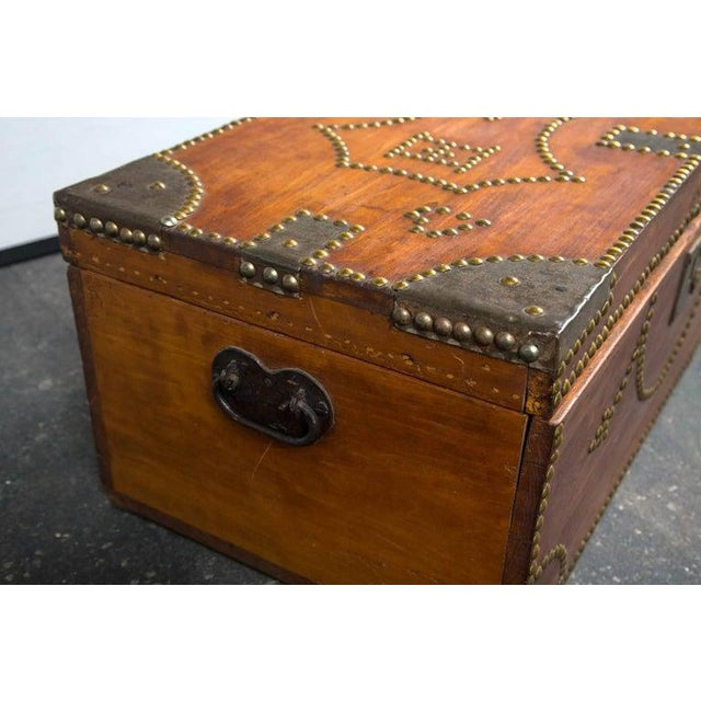 19th Century Tack Decorated Trunk For Sale In New York - Image 6 of 8