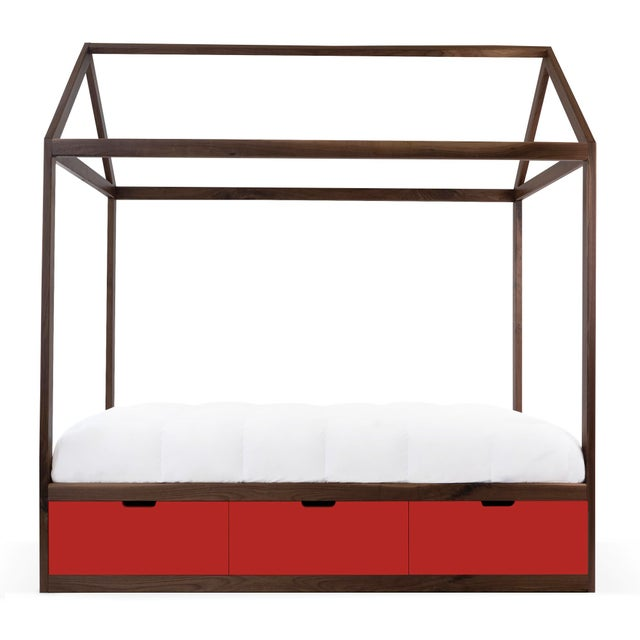 Contemporary Domo Zen Full Canopy Bed in Walnut With Red Finish Drawers For Sale - Image 3 of 3