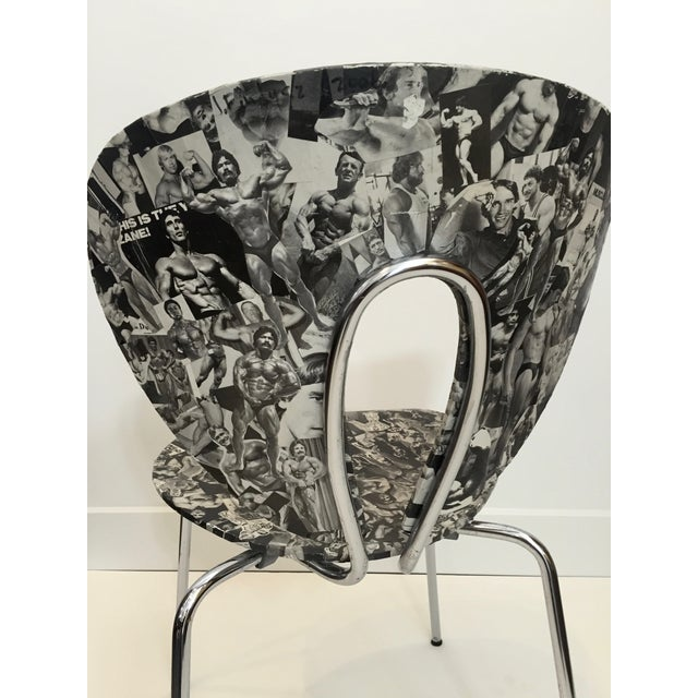 Bodybuilder Decoupage Modernist Chair - Image 11 of 11