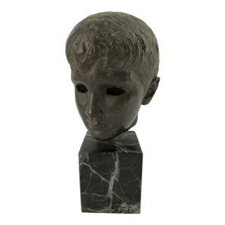 Early 20th Century Bust of a Young Boy Bronze Sculpture For Sale