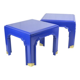 1960s Chinoiserie Blue Pagoda Oak Side Tables - a Pair