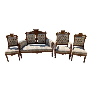 Late 19th Century Antique Victorian Eastlake-Style Parlor Set- 4 Pieces For Sale