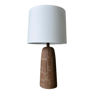 Geometric Pattern Incised Stoneware Table Lamp, Circa 1960 For Sale