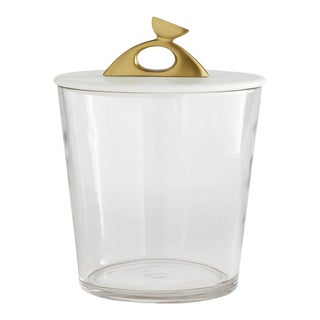 Arteriors Contemporary Glass, Brass and White Marble Wortham Ice Bucket For Sale