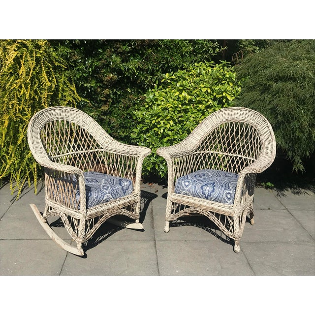 Vintage Wicker Rocker & Chair - a Pair For Sale - Image 10 of 10