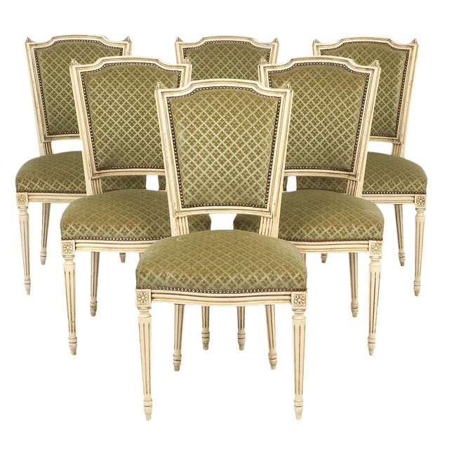 Green Dining Room Chairs: Louis XVI Style French Antique Sage Green Dining Chairs