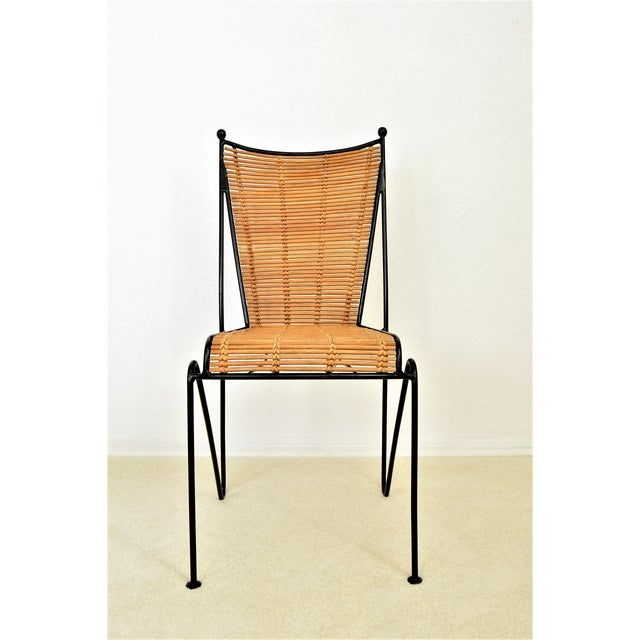 1960s Ficks & Reed Mid-Century Organic Modern Bamboo & Rod Iron Chair Pencil Reed Rattan Albini Weinberg Style -- Tropical Boho Chic Mid Century Modern MCM For Sale - Image 5 of 11