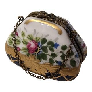 Limoges Hand Painted Porcelain Hinged Trinket Box Purse Form For Sale