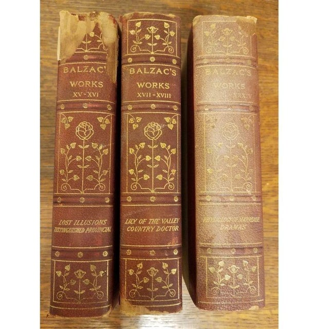 "Mid 19th Century 11 Volume Vintage ""Balzac's Works"" Leather Books For Sale - Image 5 of 10"