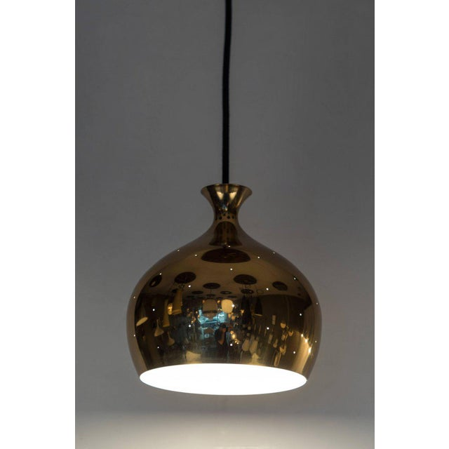 Falkenbergs Belysning Helge Zimdal for Falkenberg 1960s Brass Perforated 'Onion' Pendants - a Pair For Sale - Image 4 of 7