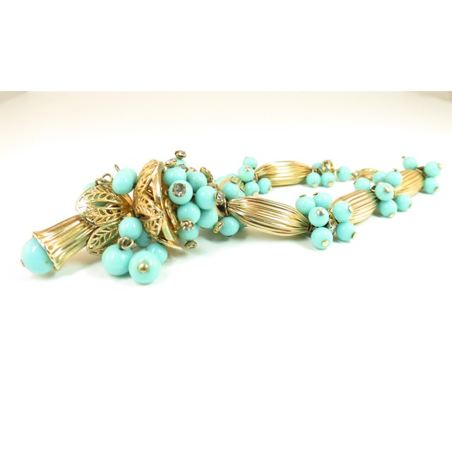 Miriam Haskell Turquoise Glass Necklace & Bracelet Set, Made in Germany 1950s For Sale - Image 11 of 13