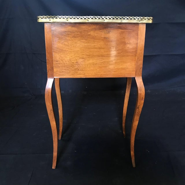 Metal Louis XV Style Inlaid Night Stand or Side Table With Gold Fretwork For Sale - Image 7 of 12