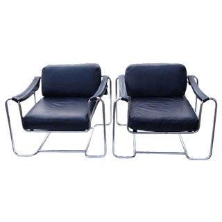 Pair of Vintage Stendig Kurt Thut Black Leather Lounge Chairs for Stendig For Sale