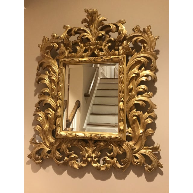 Antiqued Art Deco Gold Brocade Wall Mirror For Sale - Image 4 of 11
