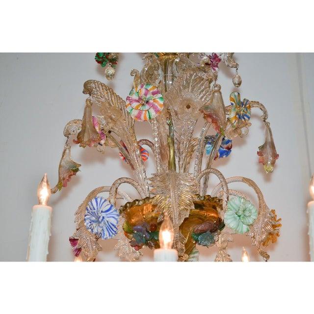 Antique Venetian Multi-Color Blown Glass Chandelier For Sale - Image 9 of 11