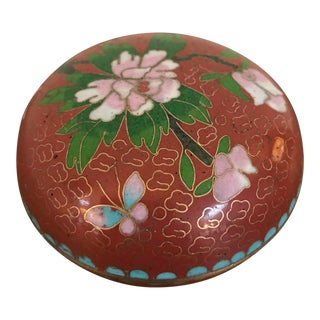 Vintage Cloisonné Lidded Bowl For Sale