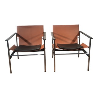 Charles Pollock for Knoll 657 Sling Lounge Chairs- a Pair For Sale