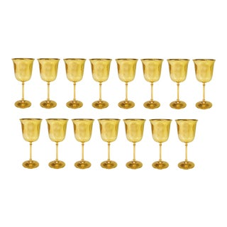 Vintage International Silver Company Gold Plated Mini Goblet/Cordials - Set of 15 For Sale