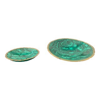 Malachite Bowl With Brass Rims - A Pair For Sale