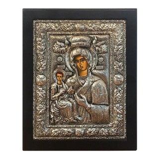 Russian Silver Riza Icon of Madonna and Child For Sale