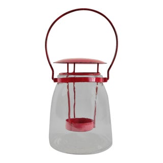Boho Chic Round Red Metal Clear Glass Candle Lantern For Sale
